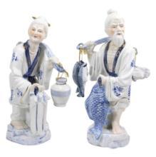 Pair Asian Blue & White Porcelain Figures