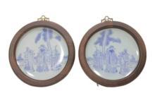 Pair of Chinese Fu Lu Shou Porcelain Plates