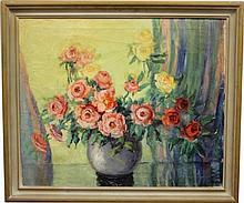 Jessie A. Palmer Oil on Canvas Floral Still Life