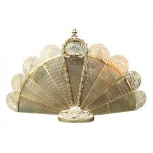 French-Style Reticulated-Brass Fan Fire Screen