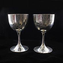 Set of 2 Silver Hattori Kinatro Goblets