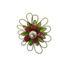 Molded Petal and Faux Pearl Brooch
