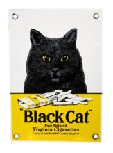 Black Cat Cigarettes Porcelain Advertisement