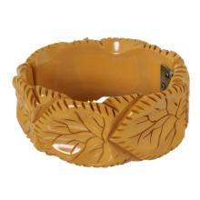 Vintage Carved Bakelite Hinged Bracelet