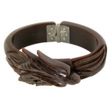 Vintage Bakelite Hinged Brown Bracelet