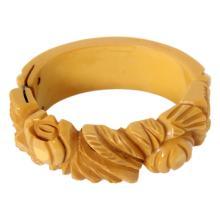 Vintage Carved Bakelite Bracelet Hinged