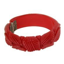 Vintage Red Floral Hinged Bangle Bakelite Bracelet