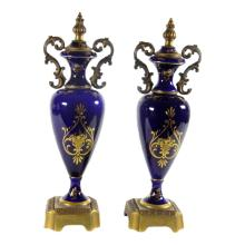 Sevre Style Covered Urns