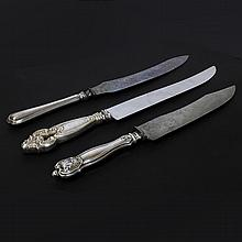 Set of Three Assorted Silver Carving Knives