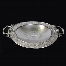 Footed Silverplate Oriental Serving Dish American Medallion Silver