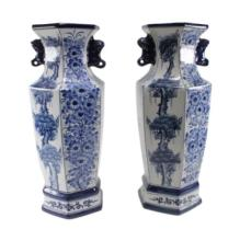 Pair of Six Sided Asian Vases