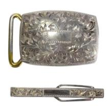Sterling .950 Buckle and Tie Clip Set