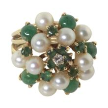Emerald Pearl and Diamond Cocktail Ring