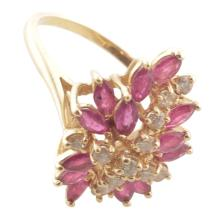 Ruby & Diamond Cocktail Ring in 14k Gold