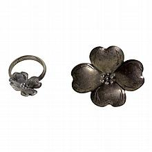 Sterling Floral Ring & Brooch Set