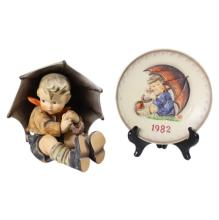 Umbrella Boy Hummel and 1982 Plate