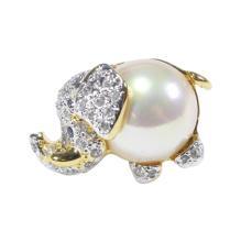 Rhinestone and Faux Pearl Elephant Pin