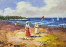 Woman & Girl with Red Balloon On Beach Painting