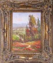 Original Oil on Canvas Floral Landscape