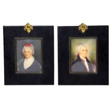 Pair of Miniature Paintings Washington & Hamilton