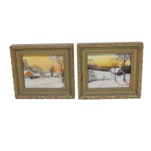 Pair Small Oil Paintings
