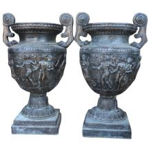 Pair of Monumental Bronze Urns