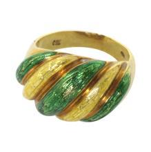 18k Enameled Gold Ring