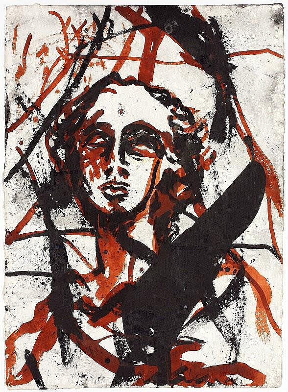 Julian Schnabel, Head: watercolour on paper,