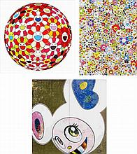 Takashi Murakami, Flowerball - Goldfish Colors (3D)/ Poporoke Forest/ DOB in Pure White Robe (Pink & Blue) (set of 3)