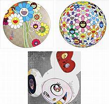Takashi Murakami, Flowers for Algernon/ Flowerball Cosmos (3D)/ DOB in Pure White Robe (Navy & Vermilion) (set of 3)