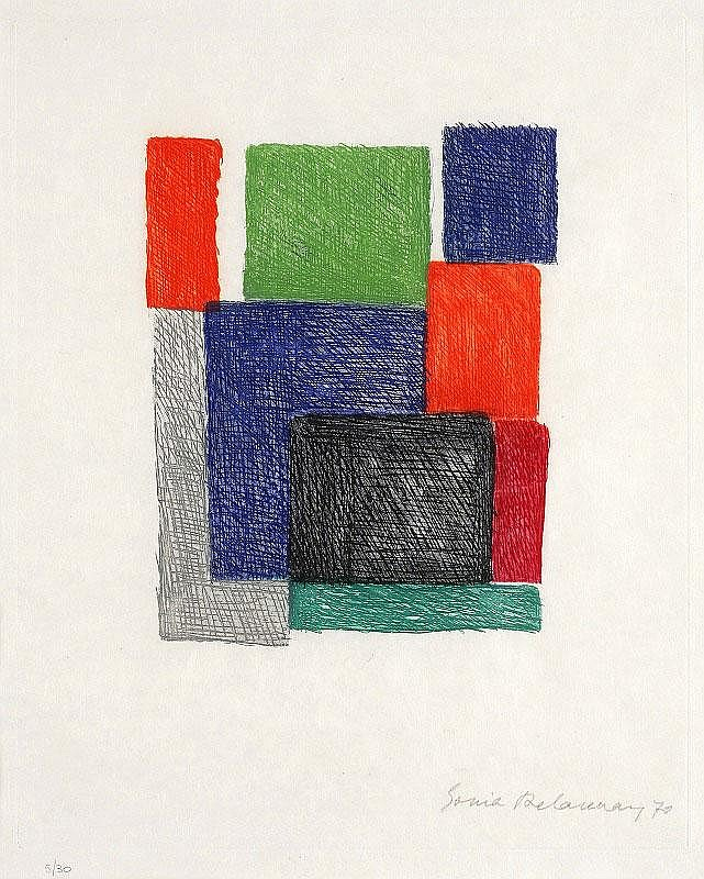Sonia Delaunay, Untitled etching in colours, 1970,
