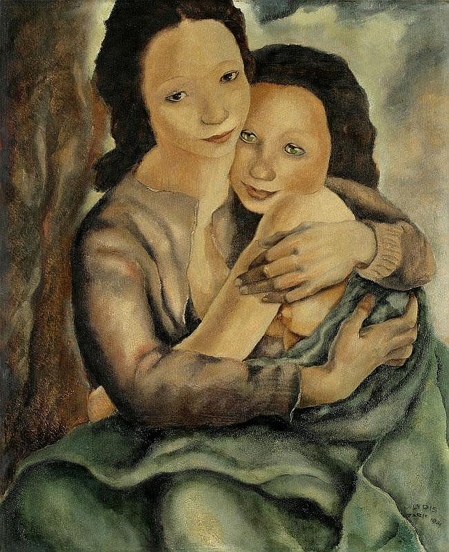 Mariett Lydis, Mother and child oil on board,
