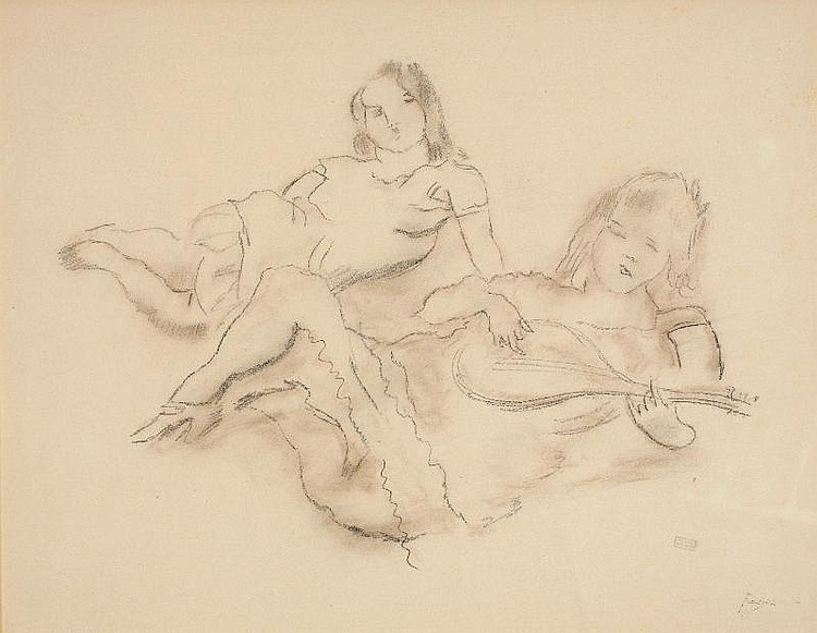 Jules Pascin, La Mandoline pencil and brown crayon
