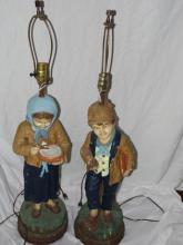 Dutch boy and girl lamp set