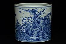 $1 Chinese Blue and White Brush Pot Guangxu Mark