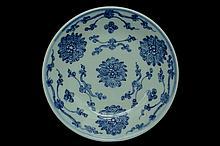 $1 Chinese Blue White Dish Qianlong Mark & Period
