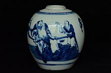 $1 Chinese Blue and White Jar Figure 18th C