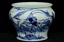 $1 Chinese Blue and White Jar Maker's Mark 20th C