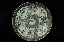 $1 Chinese Famille Rose Plate Figure 19th C