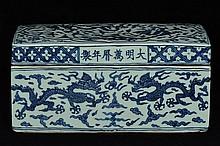 $1 Chinese Blue and White Dragon Box Wanli Mark