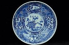 $1 Chinese Blue White Dish Guangxu Mark & Period