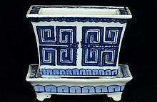 $1 Chinese Blue & White Planter & Stand Qianlong