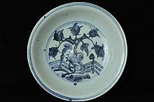 $1 Chinese Ming Blue & White Porcelain Dish 15th C