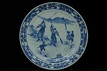 $1 Chinese Blue and White Plate Figure 19th C
