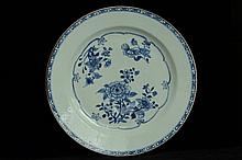 $1 Chinese Blue and White Plate 18th C