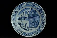 $1 Chinese Blue and White Plate Figure Kangxi