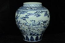 $1 Large Chinese Blue and White Jar Figure 15th C