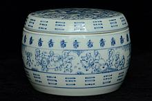 $1 Chinese Blue & White Box Figure Kangxi Period