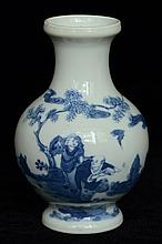 $1 Chinese Blue & White Vase Kangxi Mark 19th C