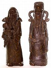 A pair of Chinese bronze figures, 20th century,